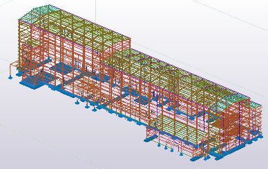 Skeletal frame around existing building for new sound and vibration proofing – 75 Tonnes